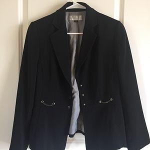 Tahari Black Blazer with Silver Chain detail